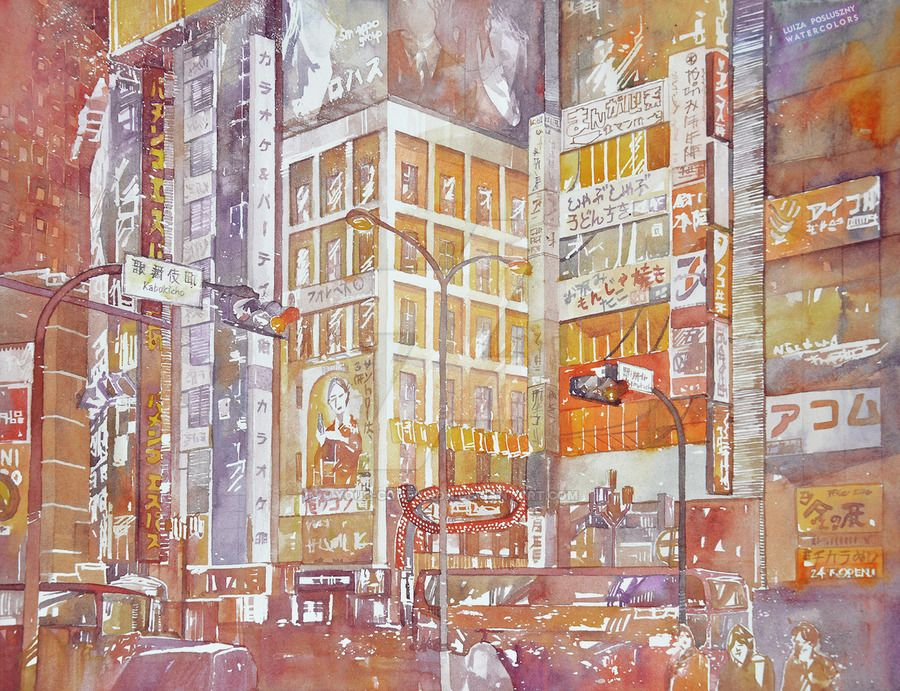 Lights in Tokyo by your-confusion.deviantart.com on @DeviantArt - 30x40cm / paper Saunders Waterford High White / watercolors Daniel Smith