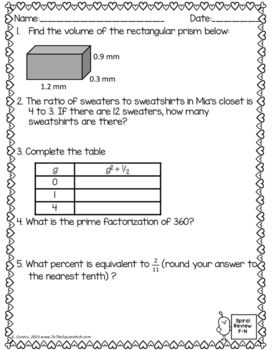 Math Spiral Review Worksheets FEBRUARY 6th... by To the Square Inch- Kate Bing Coners   Teachers Pay Teachers