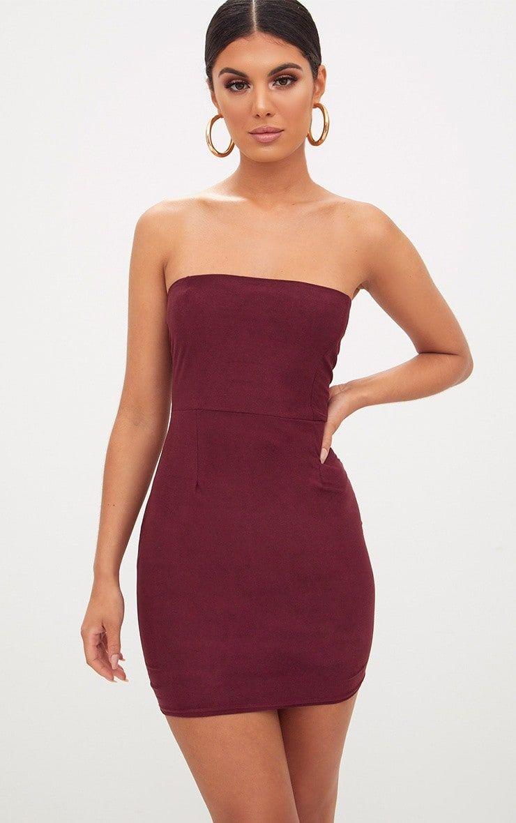 89a472681662 Burgundy Faux Suede Bodycon Dress