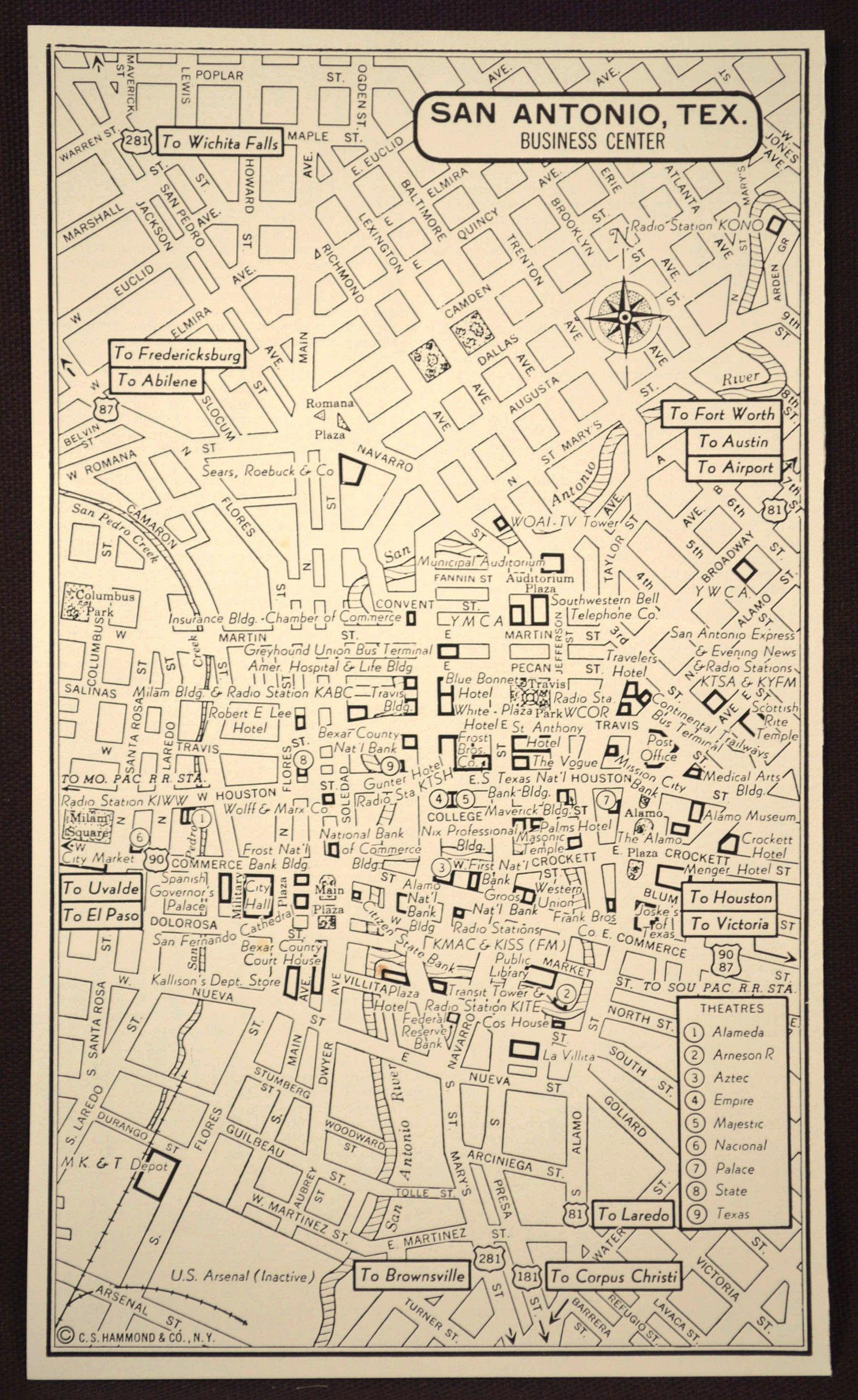 San Antonio Map of San Antonio Street Map Wall Art Decor ...