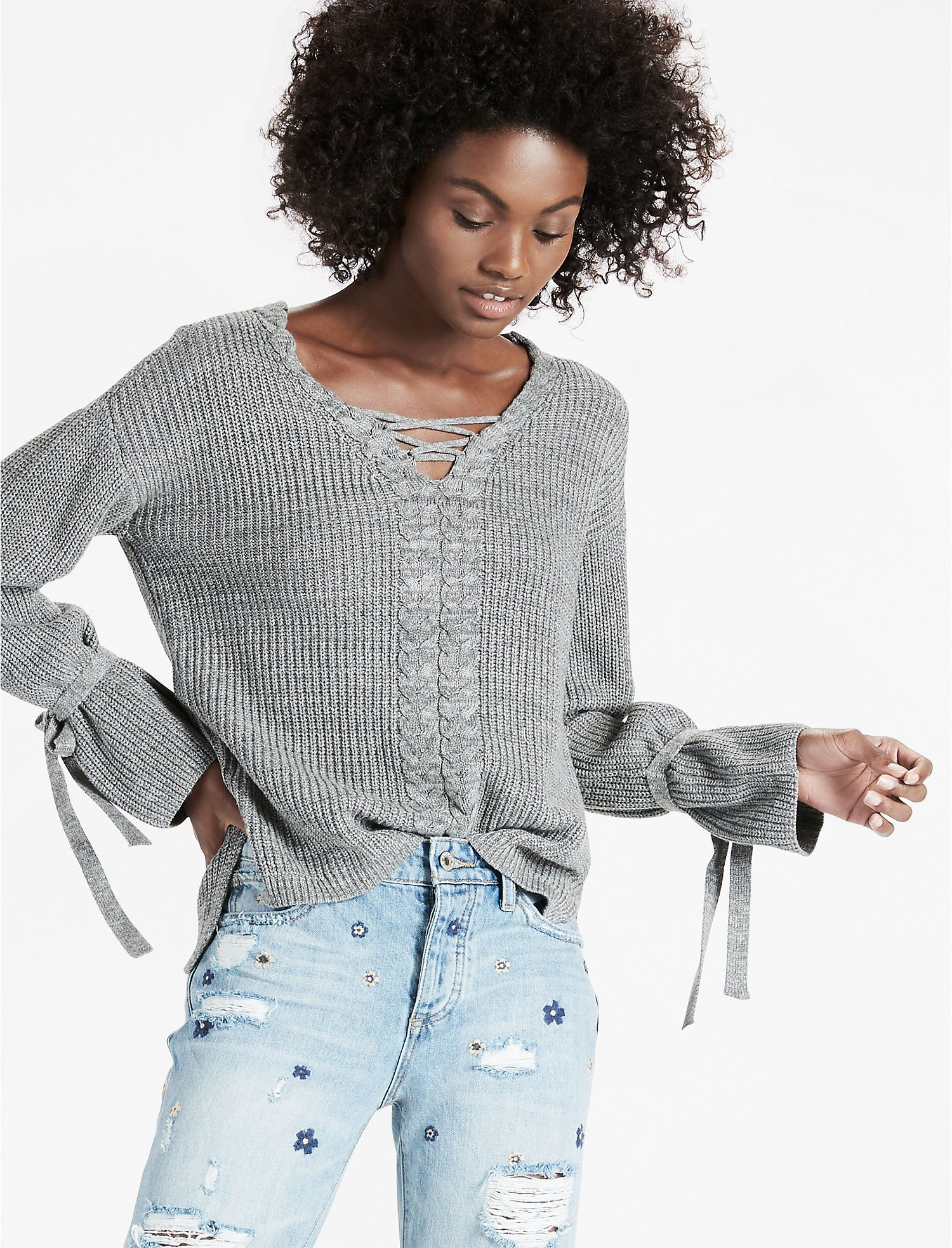 Lace Up Tie Sleeve Sweater