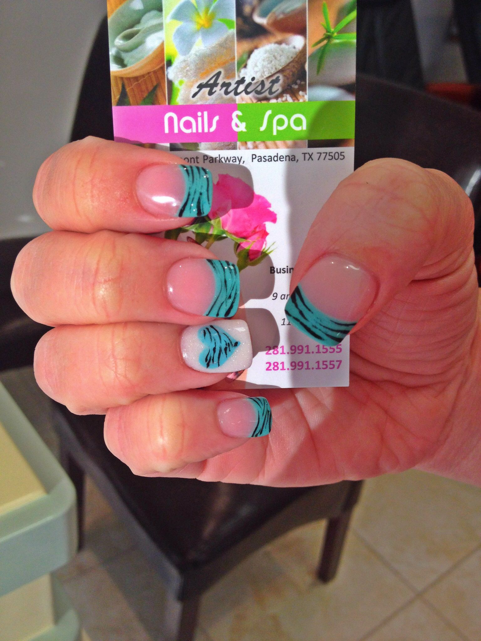 Turquois French Tips And White Nails With Hearts And Zebra Stripes