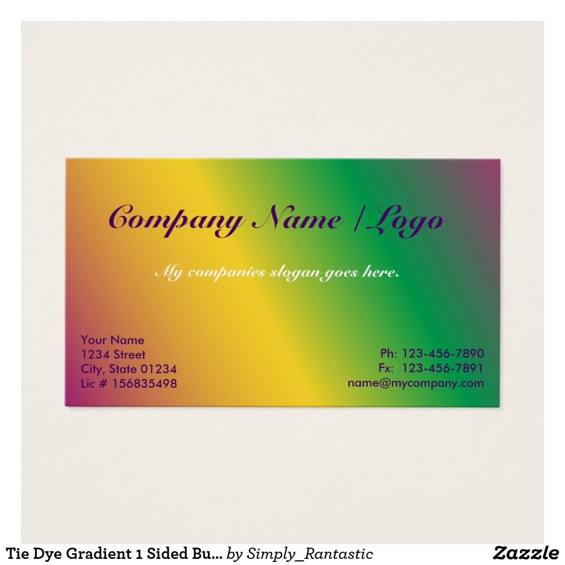 Tie Dye Gradient 1 Sided Business Card Template Business Cards