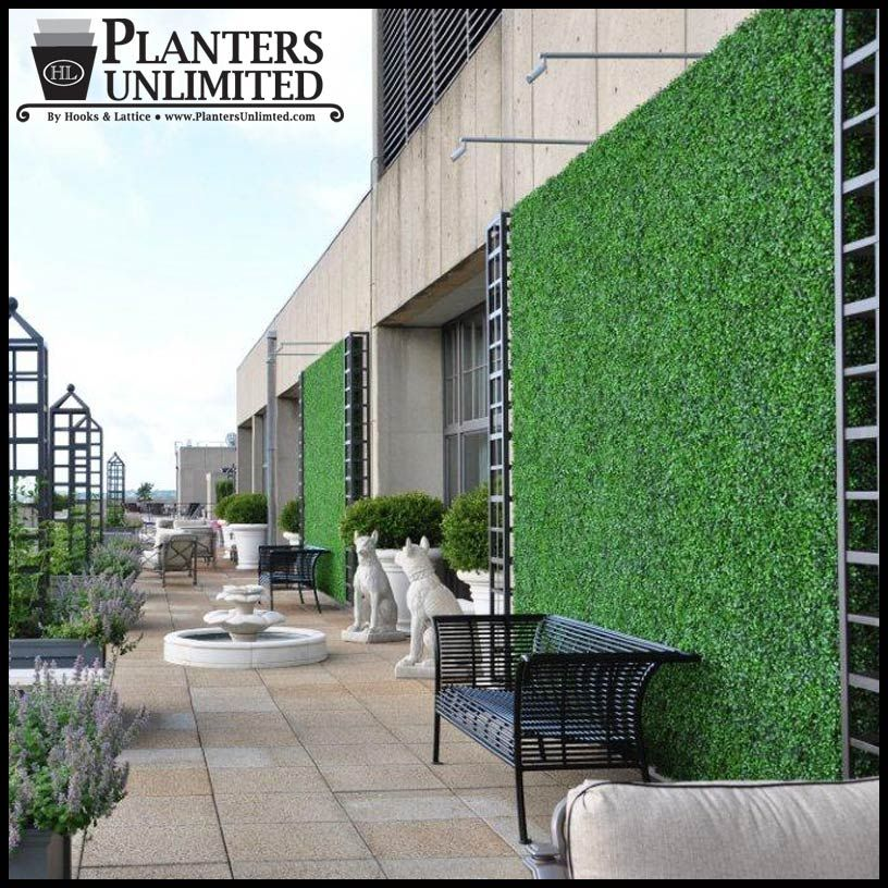Artificial Green Walls Add Color And Texture To Outdoor Settings Like This Rooftop Deck Artificial Green Wall Artificial Plants Indoor Artificial Plant Wall