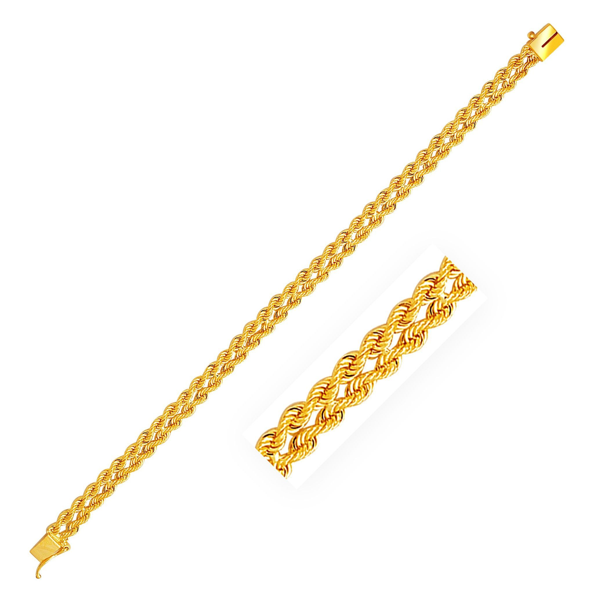 mm k yellow gold two row rope bracelet bracelets and bangles