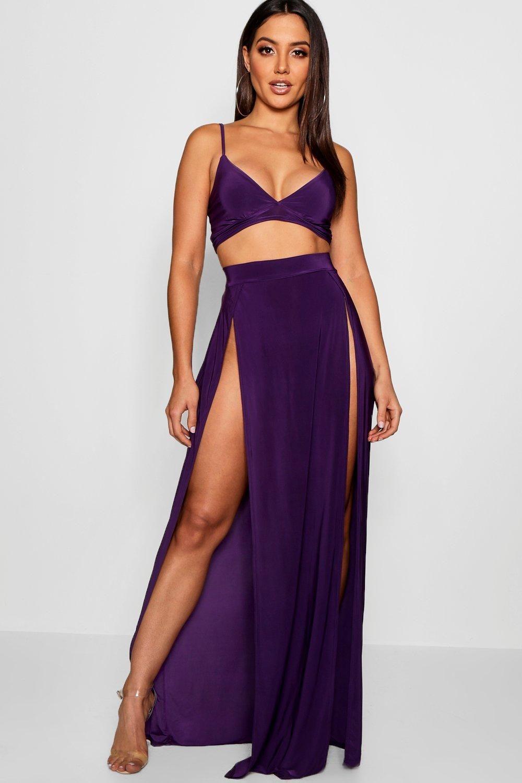 Womens Slinky Bralet Split Maxi Skirt Co Ord Maxi Skirt Skirt Co Ord Bralet [ 1500 x 1000 Pixel ]