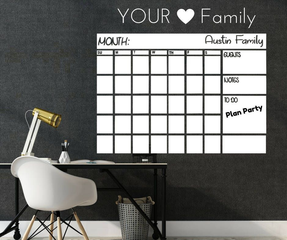 Items similar to Dry Erase monthly Calendar Decal, Whiteboard monthly planner decal, Dry Eras... It
