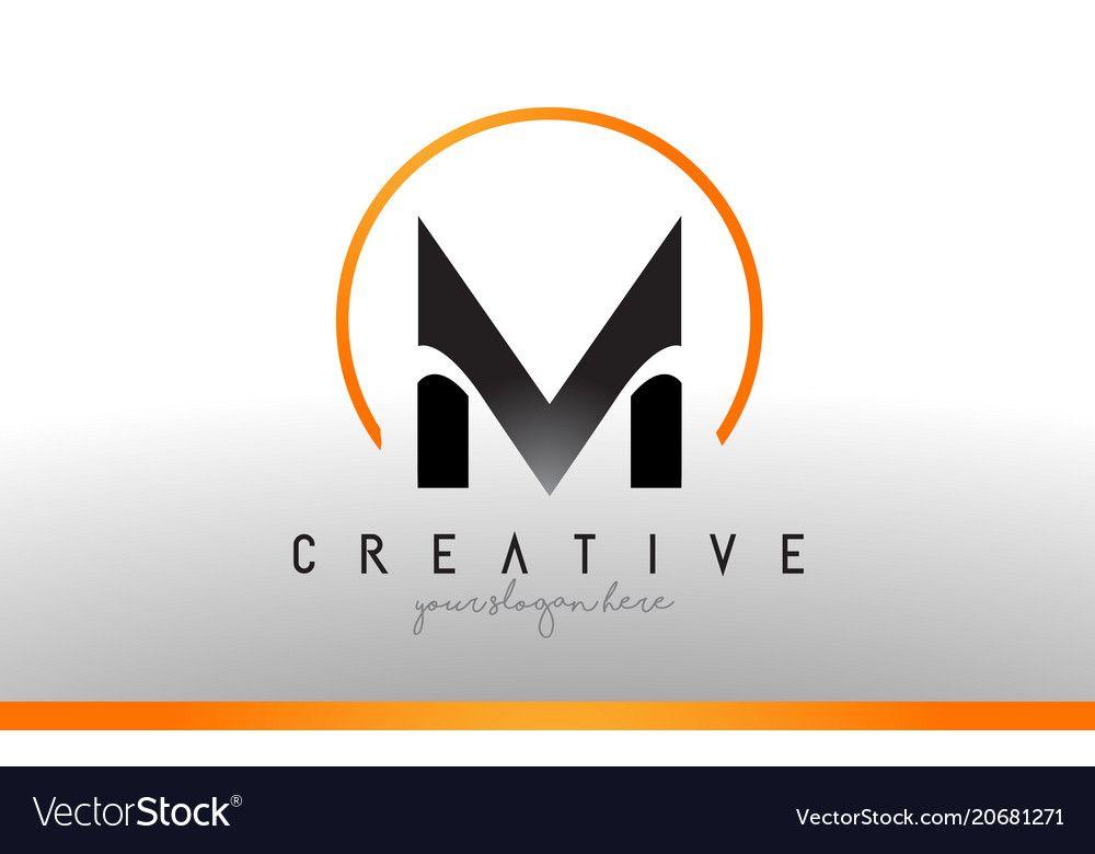 M Letter Logo Design With Black Orange Color Cool Vector Image On Vectorstock Letter Logo Design Letter Logo Logo Design
