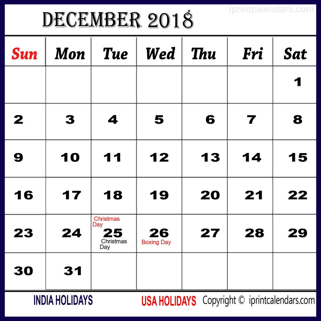 photograph about December Calendar Printable With Holidays named December 2018 Calendar With Holiday seasons South Africa December