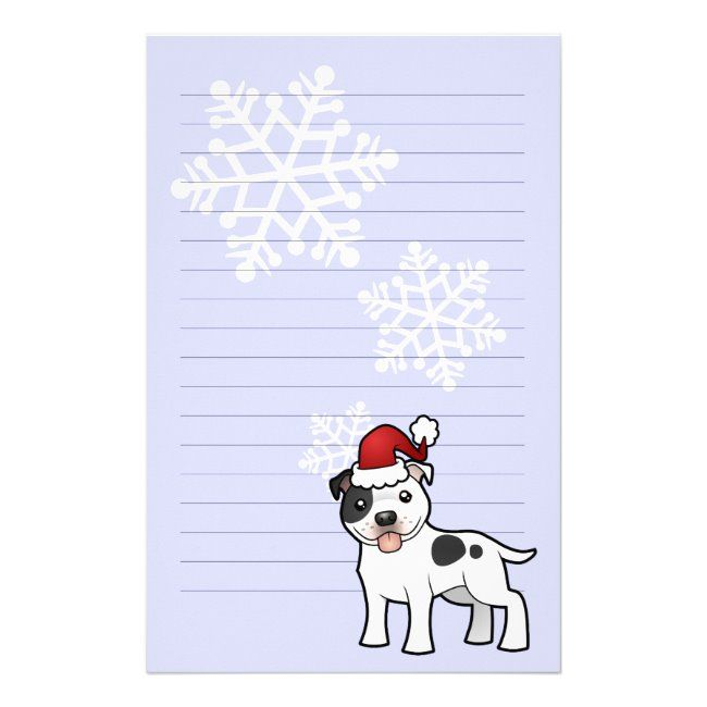 Christmas Staffordshire Bull Terrier Stationery #american #staffordshire #terrier #pitbull #pit #Stationery