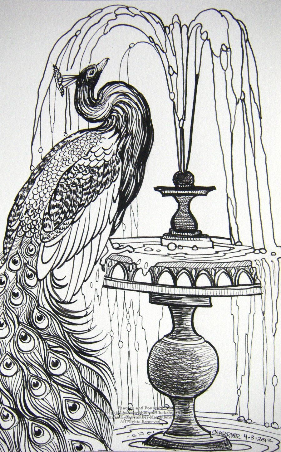 Peacock And Fountain By Houseofchabrier Deviantart Com On