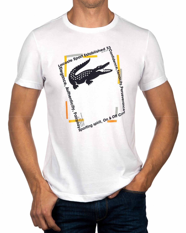 cd9dd285cfc Camisetas LACOSTE ® Hombre Blanca ✶ Tenacity