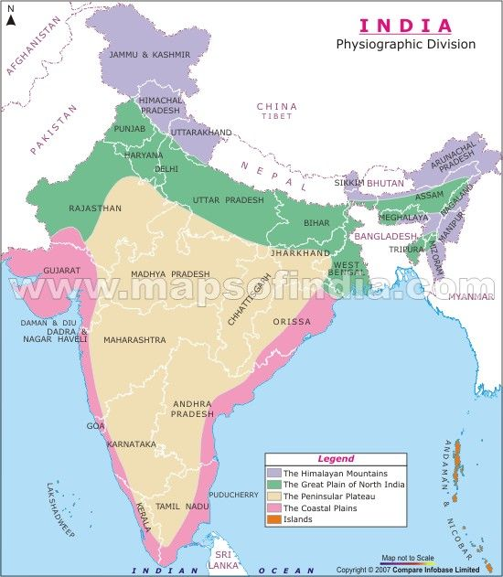 The map depicts different physiographic regions in India ...