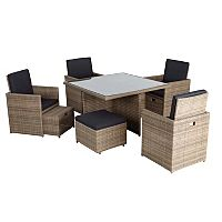 Borneo Cube Patio Dining Set in Brown 9 Piece Garden Furniture