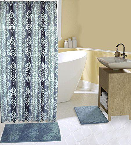 Complete 15 Piece Bath Set With 2 Memory Foam Bath Mats Shower
