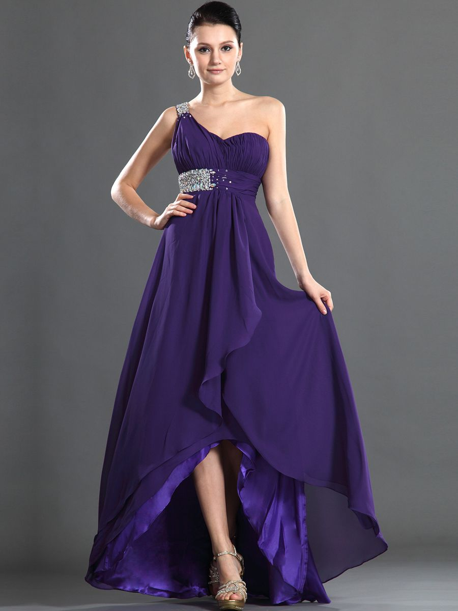 TopWedding Prom. Beading Detailed One Shoulder A Line Chiffon Prom ...