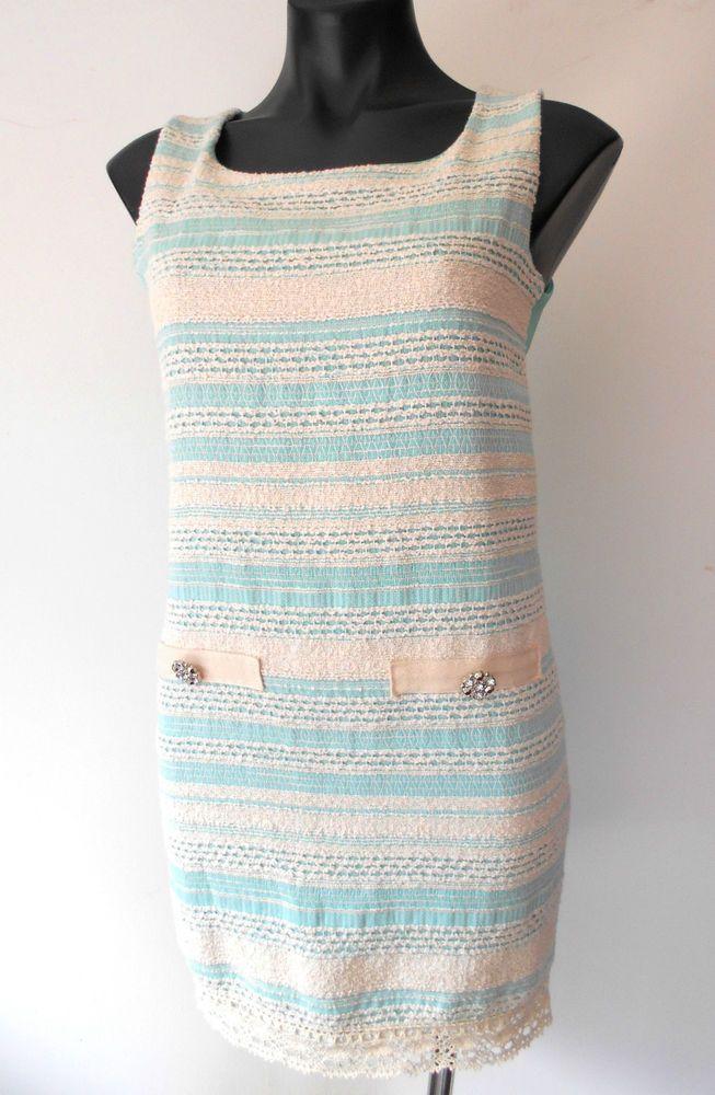 CARIA GIANNINI Designer Italy Turquoise Mini Dress Vintage Chic Size S 8-10 #CariaGiannini #Shift #SummerBeachorParty