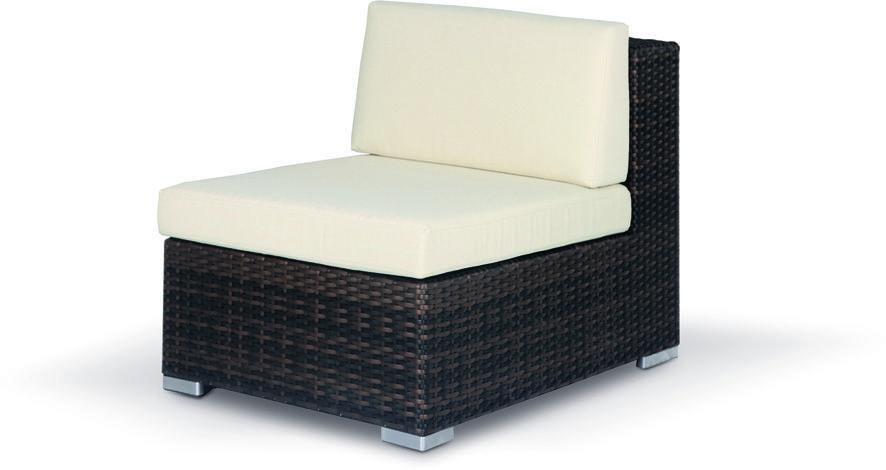 poltrona senza braccioli divano componibile in rattan sintetico struttura in alluminio cuscini inclusi