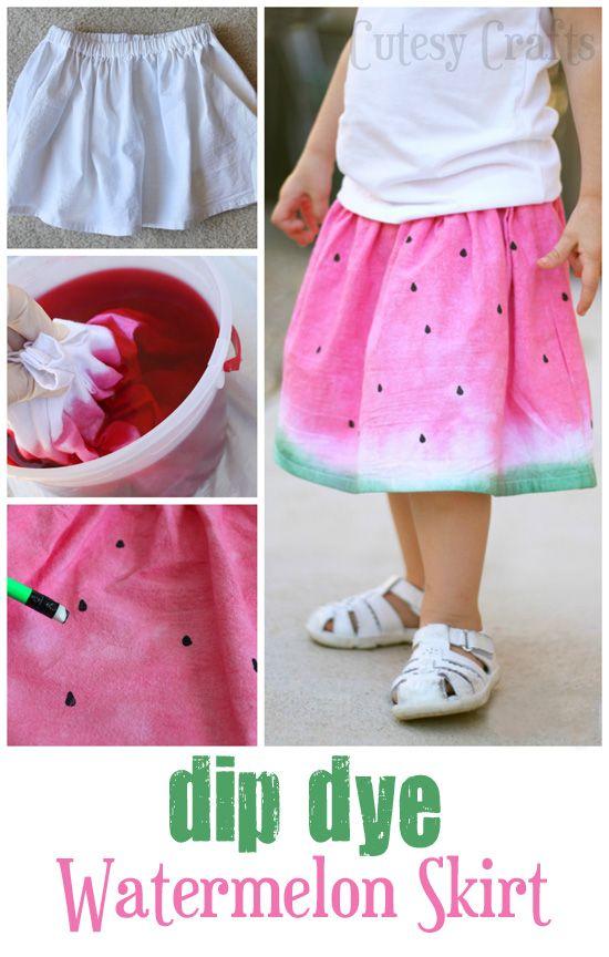 Dip Dye Watermelon Skirt - Cutesy Crafts