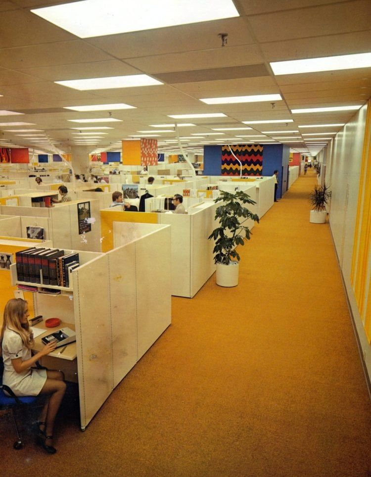 Office Cubicles In 1975 Commercial Interiors In 2019 Office