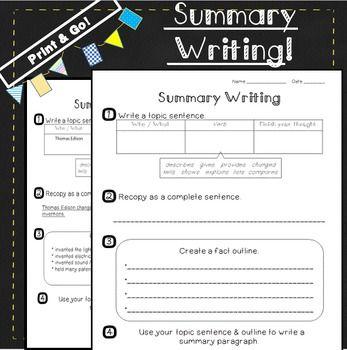 Summarizing Passages Summary Graphic Organizer Summarizing Worksheet Summary Writing Teaching Writing Writing