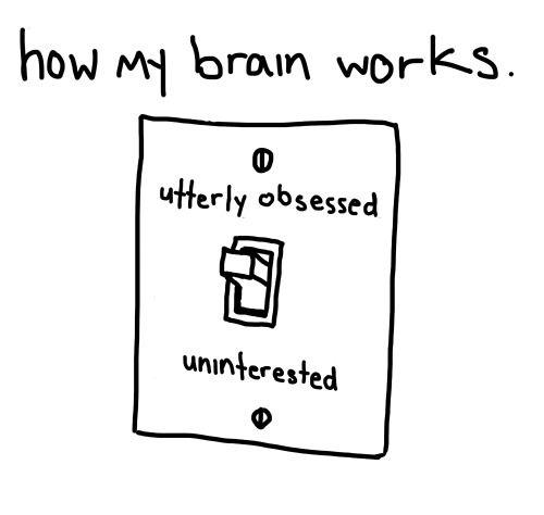 Nerd Brain.. so true. you can't half-ass interest