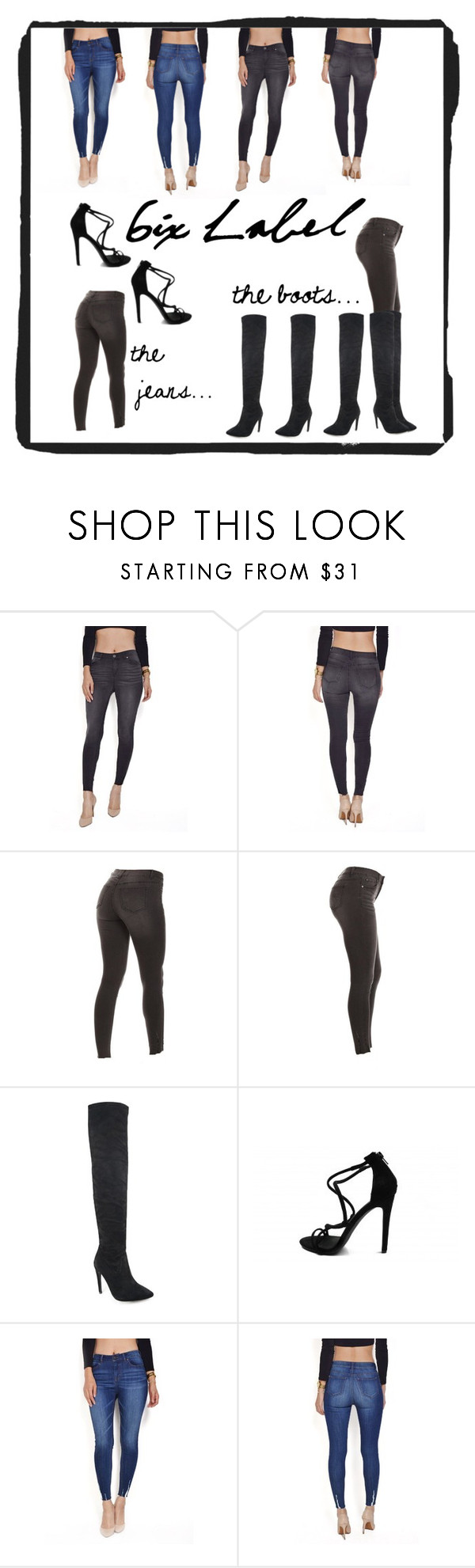 """""""@sixlabel simple jeans"""" by beanpod ❤ liked on Polyvore featuring 6ixlabel"""
