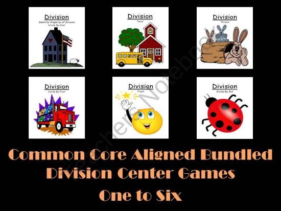 Common Core Aligned Bundled Division Center Games One to Six by Fern Smith 316 Pages Total! 36 Different Games That Can Be Mixed and Matched for ENDLESS COMBINATIONS! COMMON CORE STANDARDS 3.OA.3 and 3.OA.7 Math Operations & Algebraic Thinking for Third Grade $