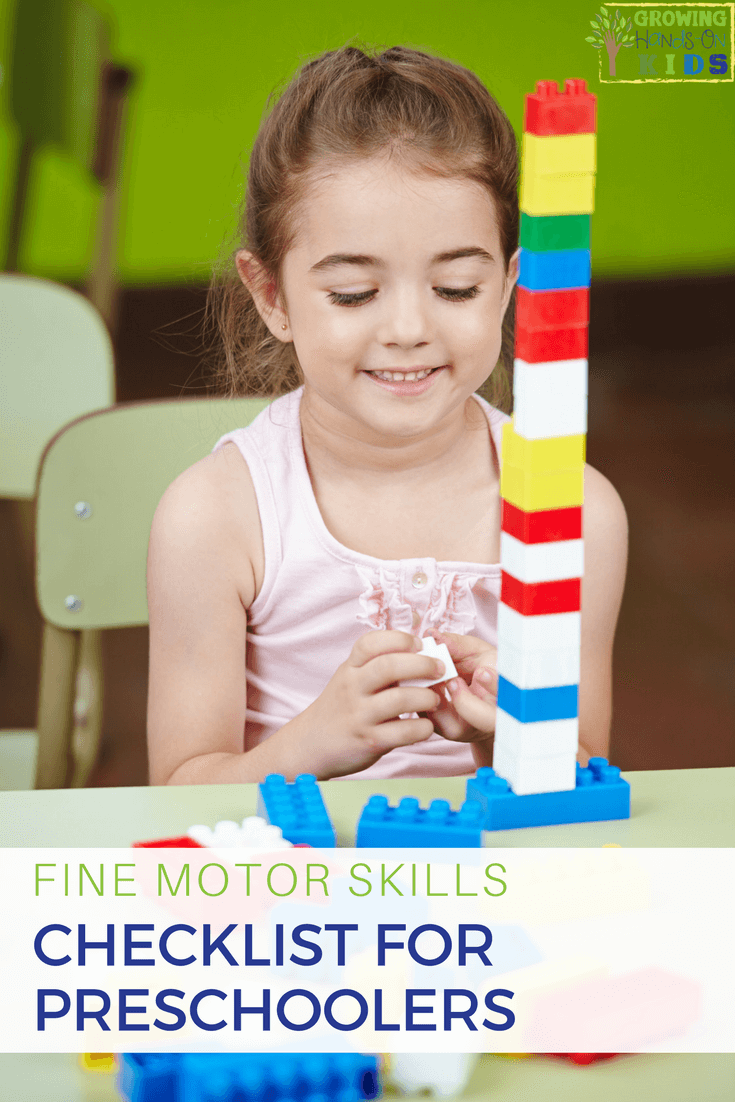 Fine Motor Skills Checklist For Preschoolers Ages 3 5 Years Old