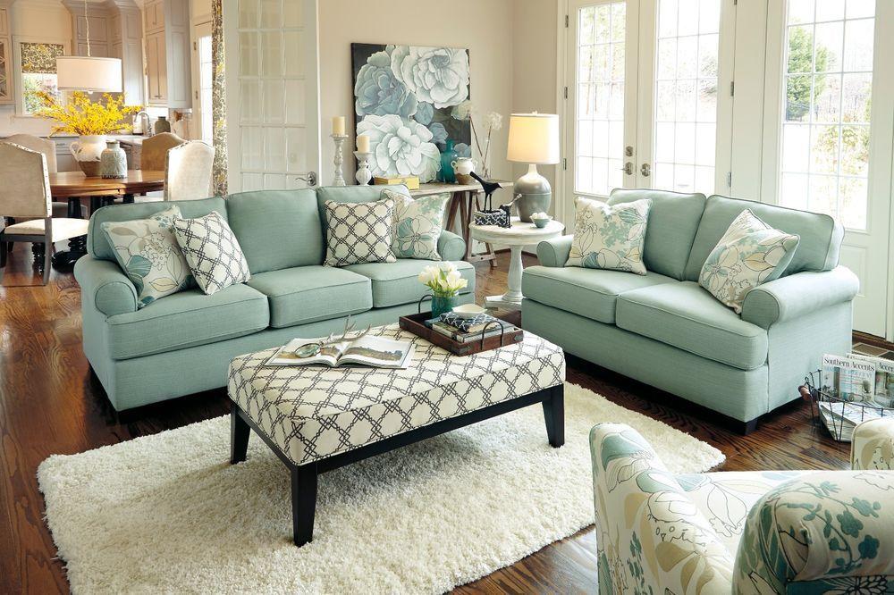 Ashley Daystar Seafoam Light Green Vintage Modern Beach House Sofa Loveseat Set Green Sofa