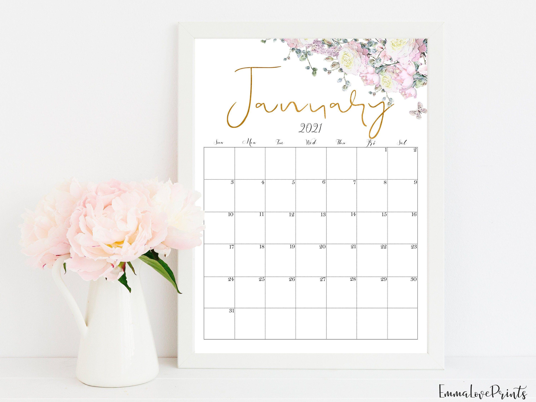 Printable Wall Calendar 2021 Rose Gold Printable Botanical Calendar Rg 1 Printable Wall Calendar Calendar Printables Wall Printables