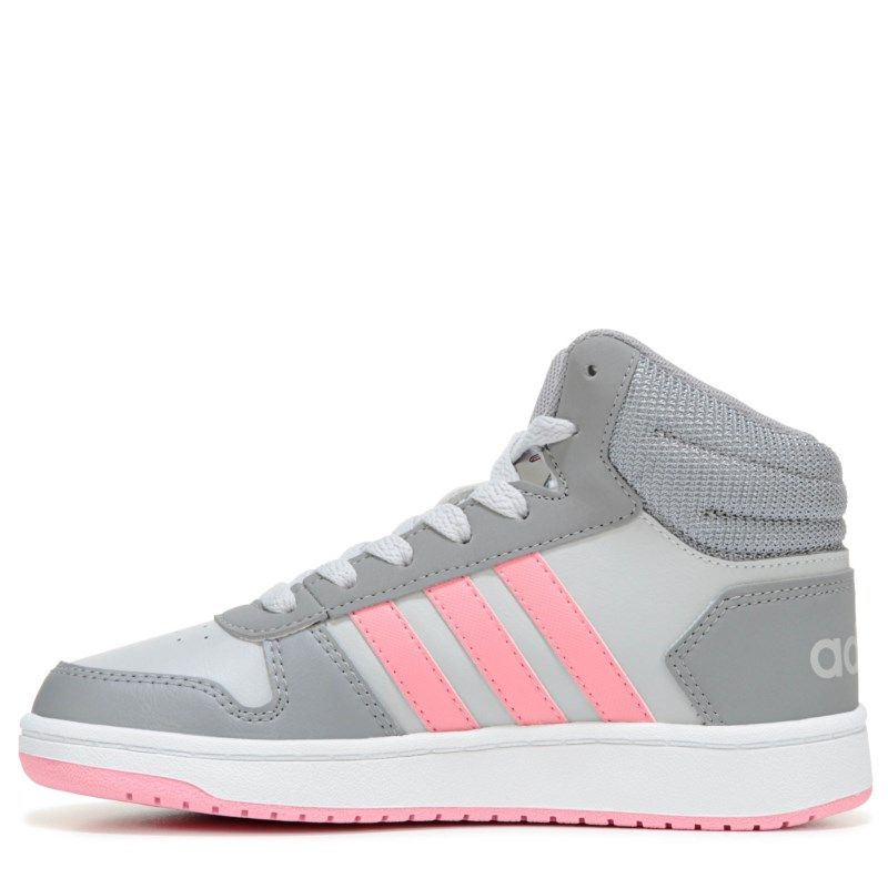 factory price 0ada8 71c83 Adidas Kids  Hoops 2 High Top Sneaker Pre Grade School Shoes (Grey Pink)