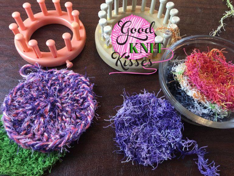 Loom Knit Scrubby - Stack scrubbies in a mason jar