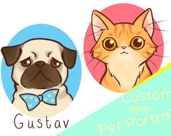 Cat Dog Cute Digital Etsy Custom Pet Portraits Pet Portraits Custom Drawing