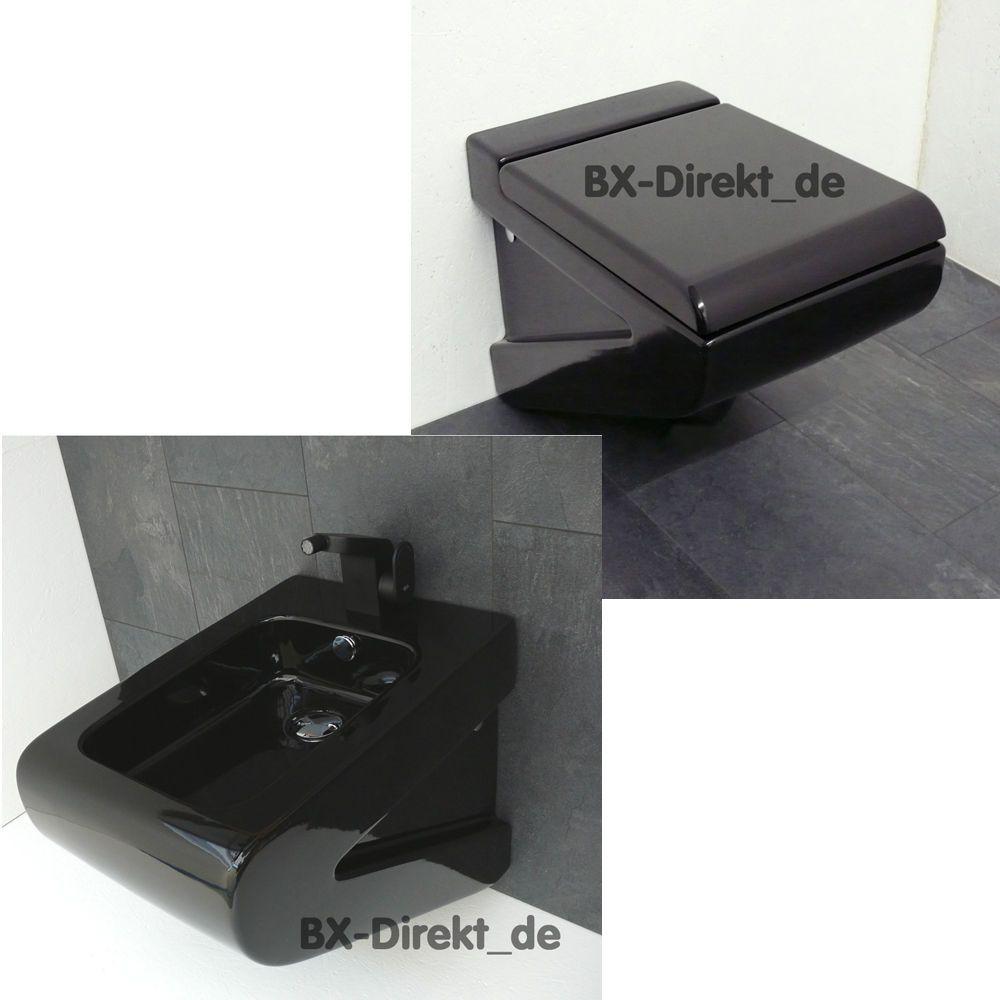 details zu schwarzes lafontana designer wc + bidet in schwarz