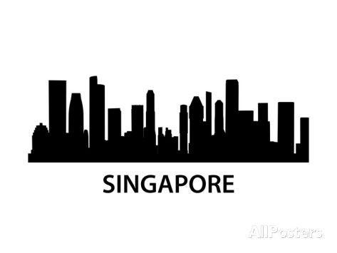 Skyline Singapore Kunst von unkreatives bei AllPosters.de