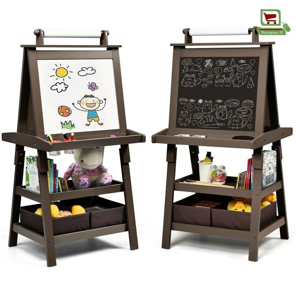 Chevalet pour Enfants 3 en 1 Tableau Magnétique et Noir avec Etageres rangement