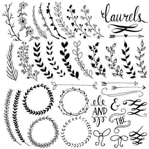 Laurel Wreath Clipart Frames, Digital Wreath Clip Art, Chalkboard Leaves + Laurel Frames, Branch Clip Art, Floral Clipart Frame, PNG, Vector