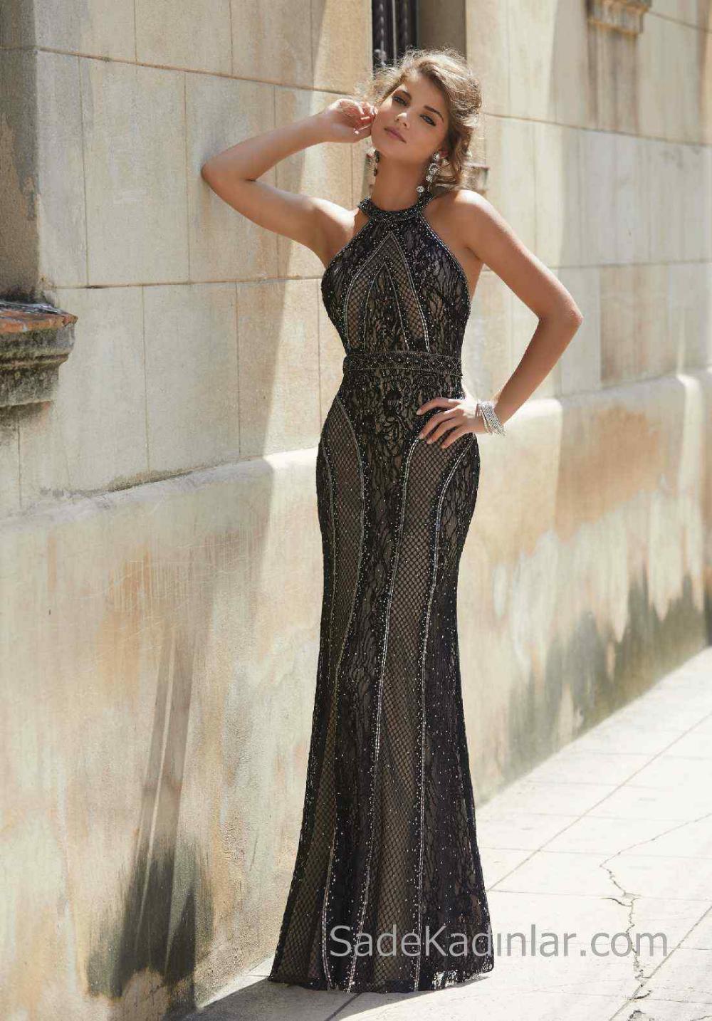 2020 Abiye Ve Gece Elbiseleri Sik Abiye Modelleri Siyah Uzun Halter Yaka Dantelli The Dress Siyah Mezuniyet Balosu Elbiseleri Elbise