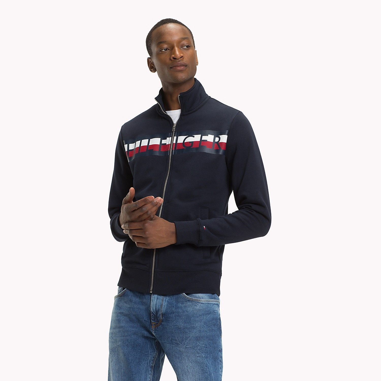 Logo Stripe Fleece Jacket Tommy Hilfiger Mens Sweatshirts Hoodie Hoodies Men Sweatshirts [ 1500 x 1500 Pixel ]