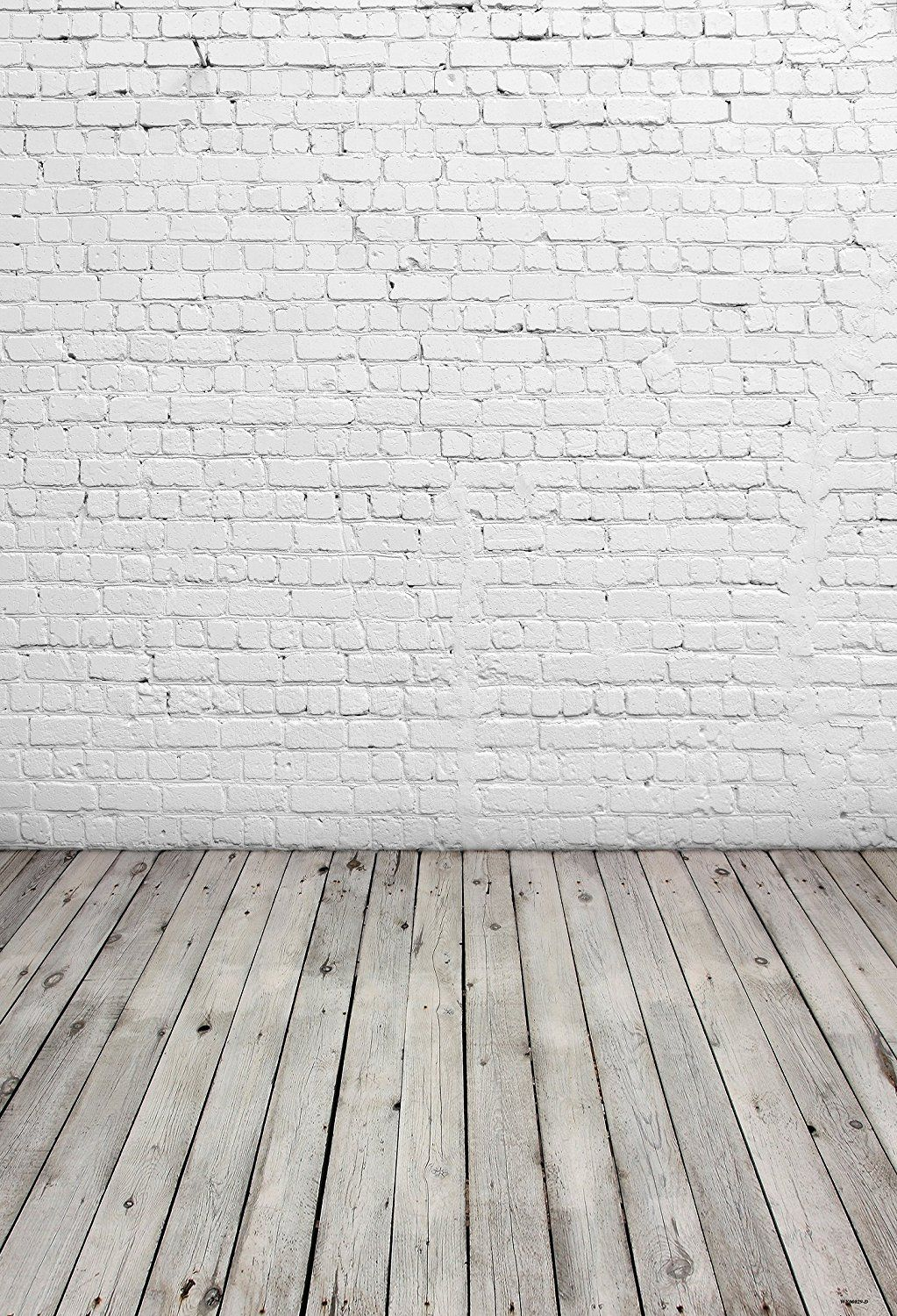 5x7ft White Brick Wall Photography Backdrop Light Grey Wood Floor Photo Backgrounds For Child Brick Wall Backdrop Wall Backdrops White Brick Walls