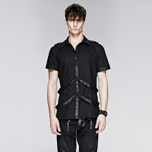 Punk Man Short Shirt com Leather Loops (Y-575)