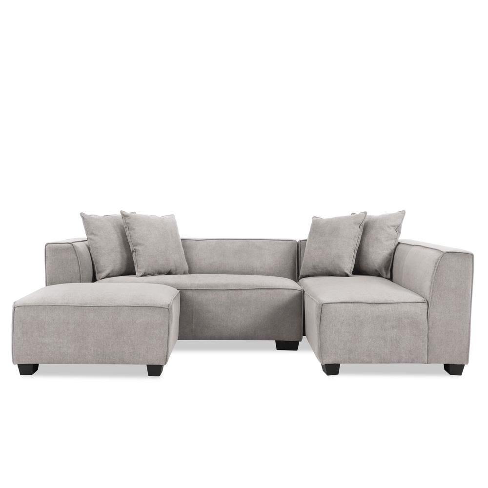 Handy Living Phoenix Sectional Sofa with Ottoman in Light ...