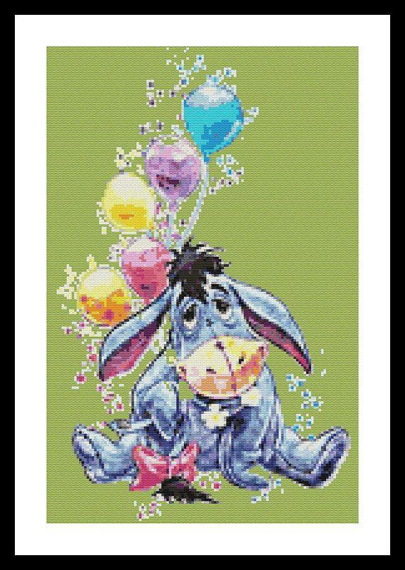 5a636bbc16 Winnie the Pooh Eeyore Watercolor Modern Cross Stitch Pattern Co