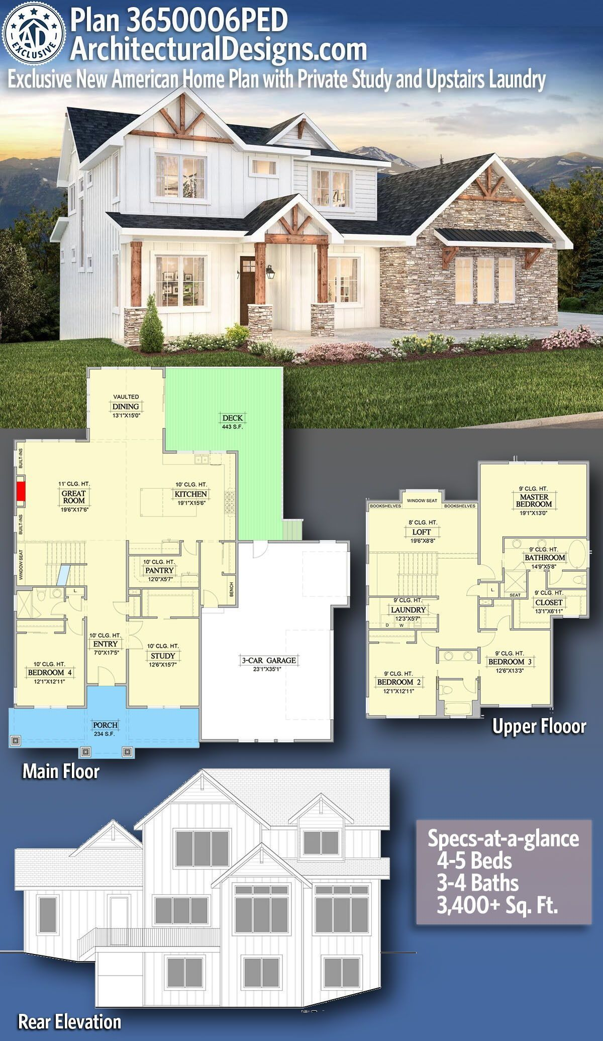 Plan PED Exclusive New American Home Plan with Private Study and Upstairs Laundry