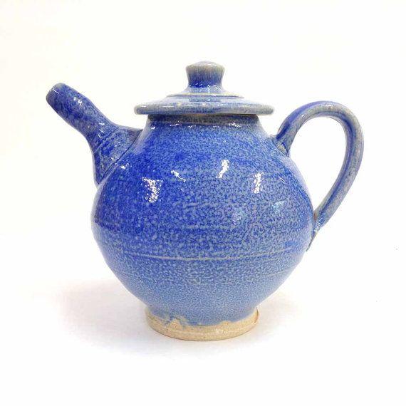 Blue Teapot Soda Glazed Stoneware Pottery by RonPhilbeckPottery