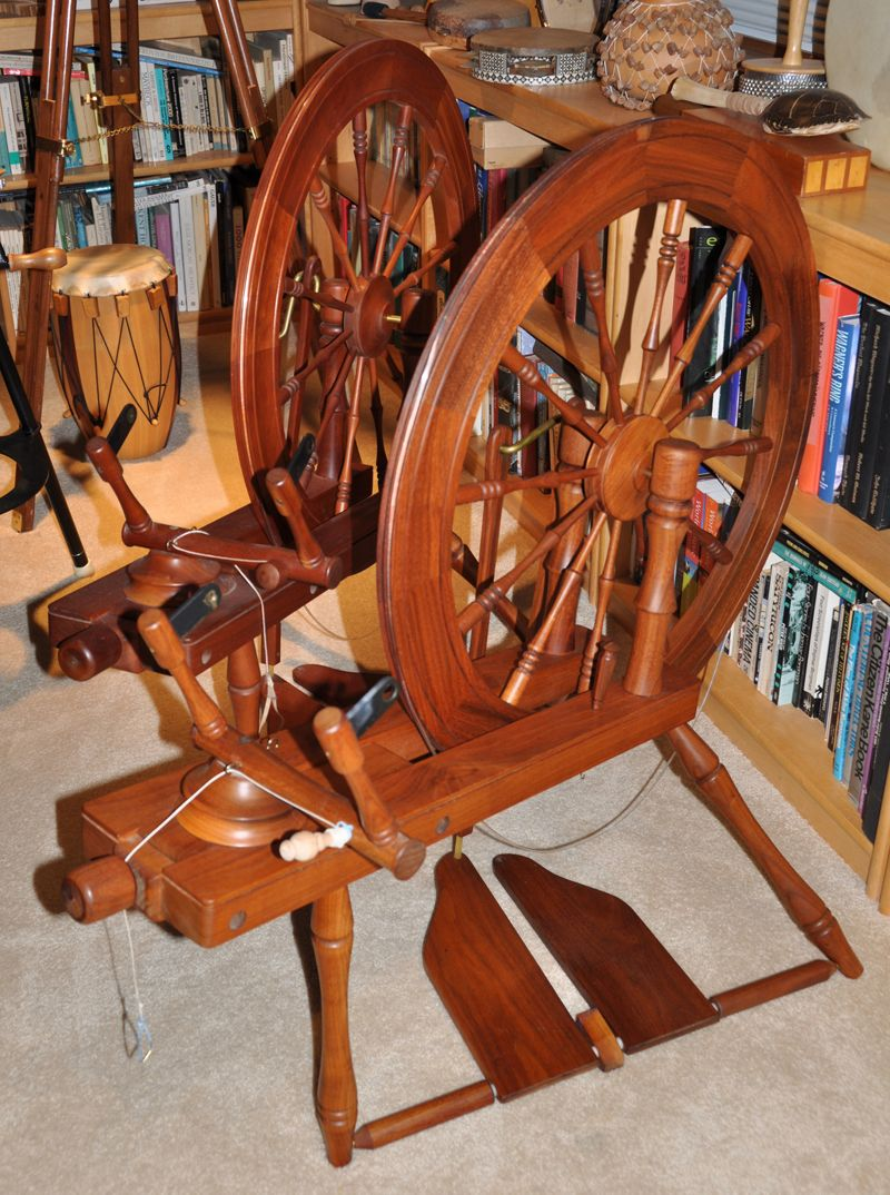 Two Lendrum Saxony spinning wheels.