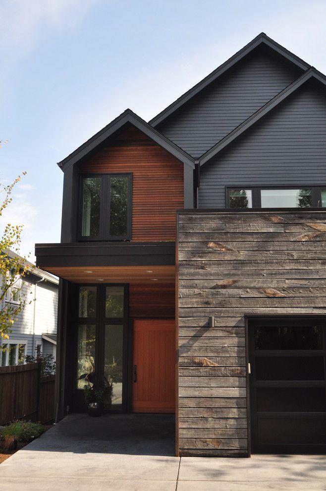 Rustic Wood Siding Exterior Contemporary with Black Garage Door
