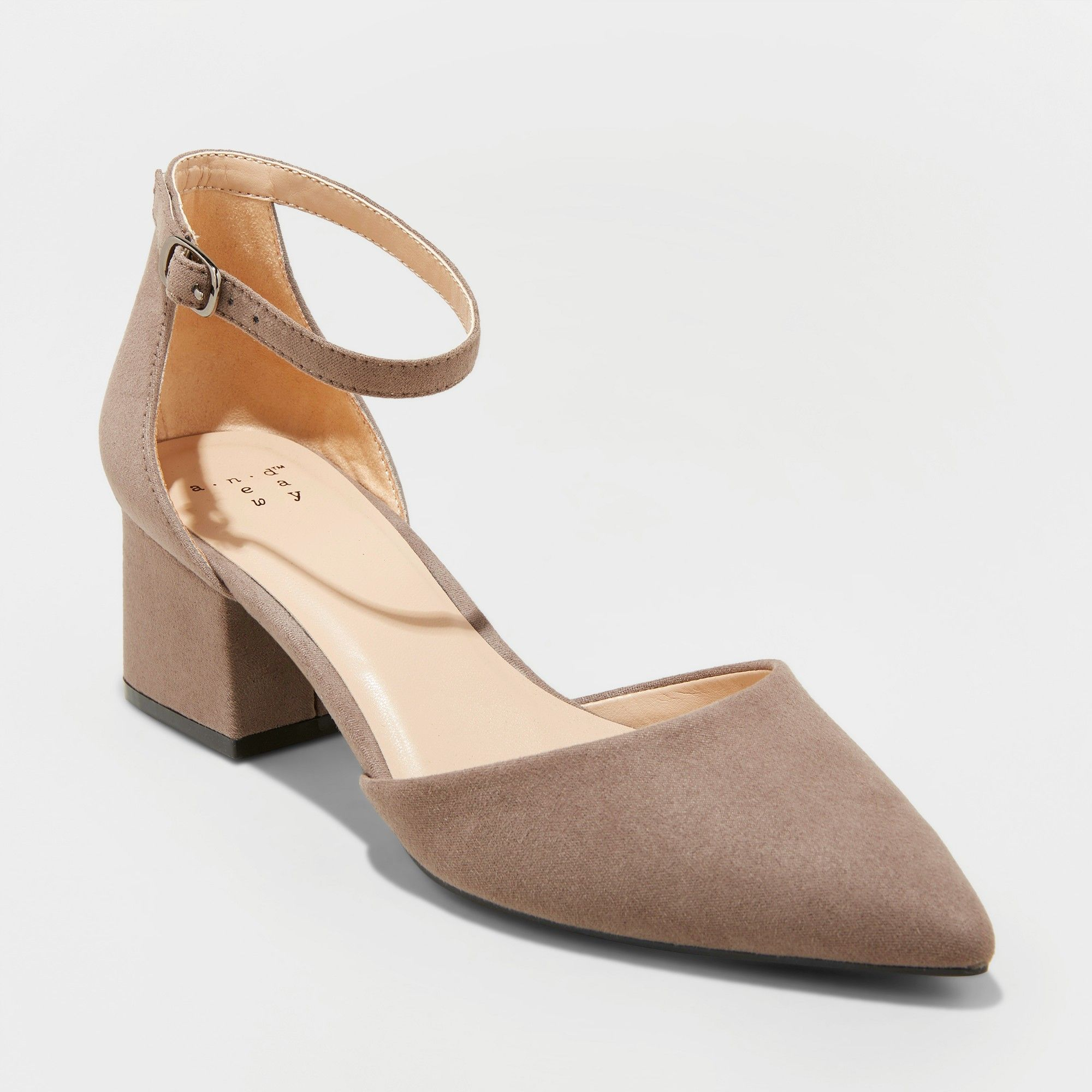 9bf880e94a8 Women s Natalia Wide Width Microsuede Pointed Toe Block Heeled Pumps - A  New Day Taupe (Brown) 5W