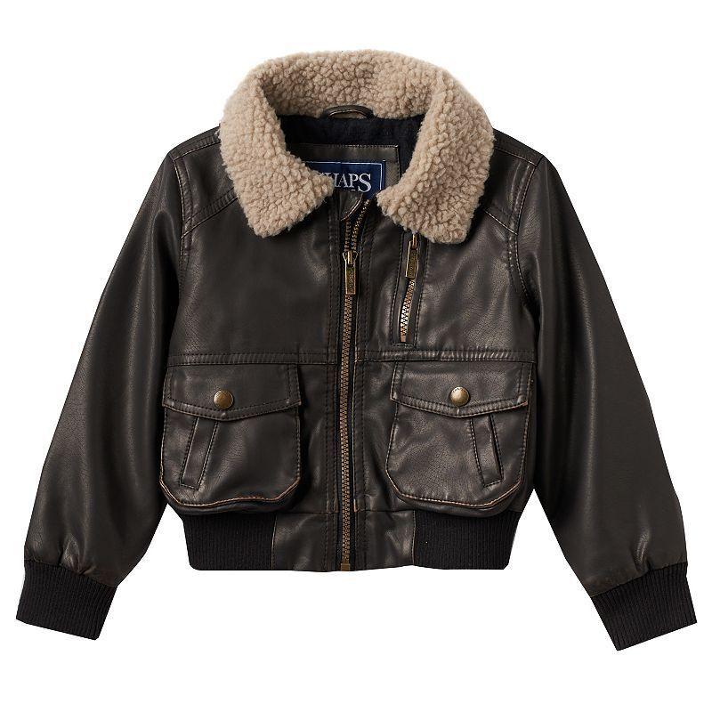 Boys 4-7 Chaps Faux-Leather Bomber Jacket, Boy's, Size: 4, Dark ...